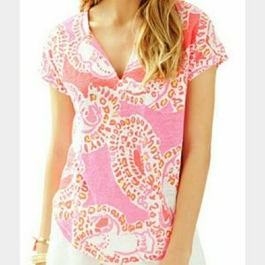 Lilly Pulitzer Hot Coral Trunk in Love Duval Top